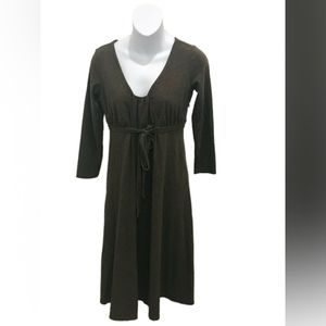 Ann Taylor Loft Brown Long Sleeve V-Neck Dress